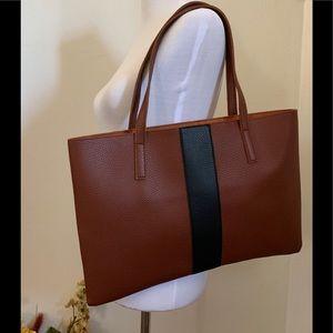 Vince Camuto brown/black vegan leather tote bag